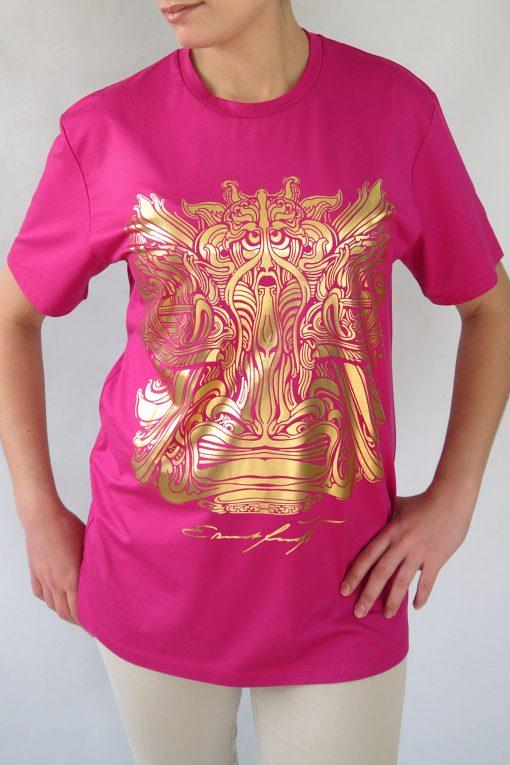 Damen T-Shirt Fuksia mit Gold – Ernst Fuchs Motiv