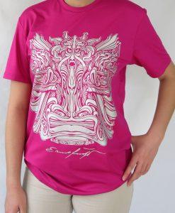 Damen T-Shirt Fuchsia und Grau - Ernst Fuchs Motiv