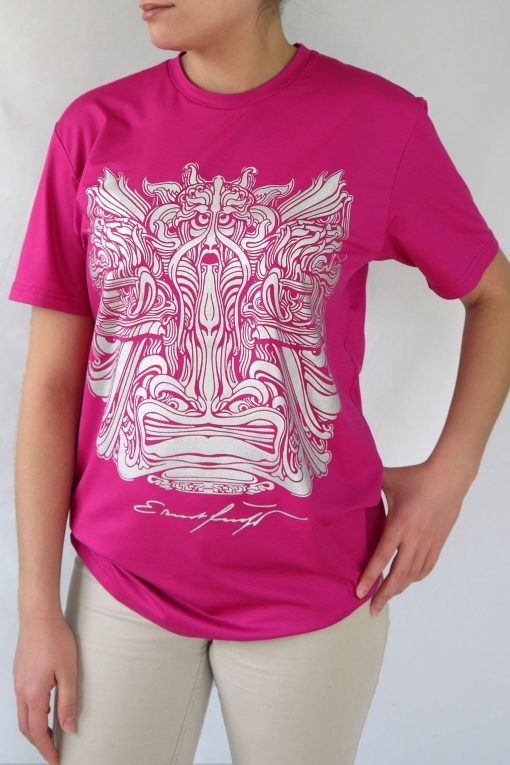Damen T-Shirt Fuchsia und Grau – Ernst Fuchs Motiv