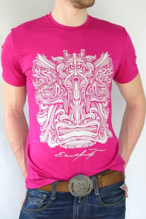 Herren T-Shirt Fuchsia mit Grau – Ernst Fuchs Motiv