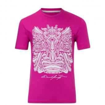 Herren T-Shirt Fuchsia mit silber - Ernst Fuchs Motiv