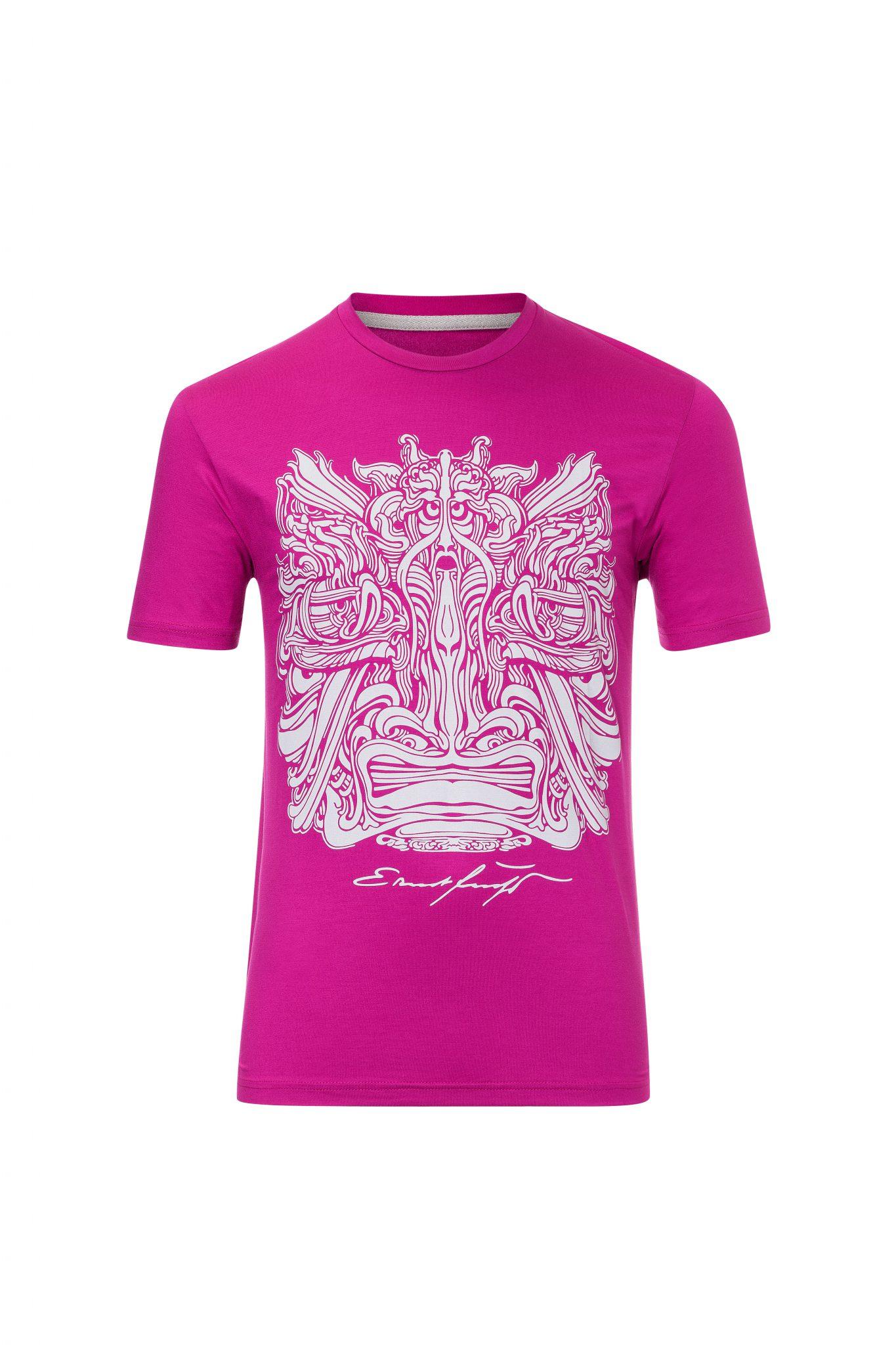 Herren T-Shirt Fuchsia mit silber – Ernst Fuchs Motiv